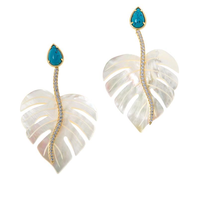 Cristina Sabatini Gold-Tone Multi-Gem Monstera Leaf Eden Earrings