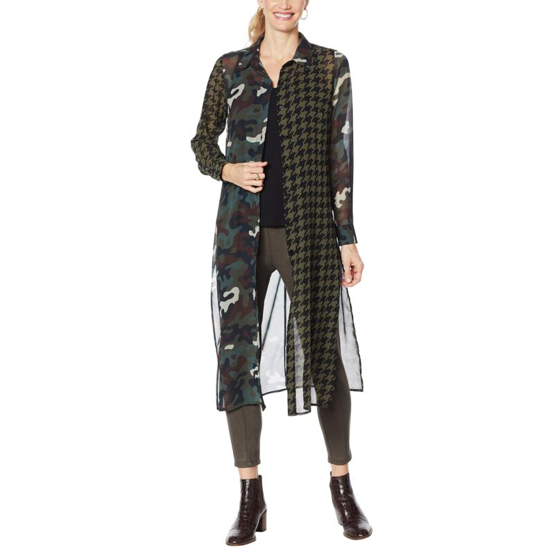 Curations Mixed Print Woven Duster Tunic