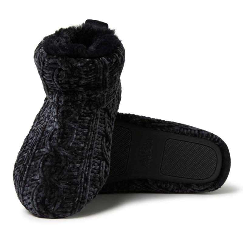 Dearfoams Women's Marled Cable Knit Chenille Bootie