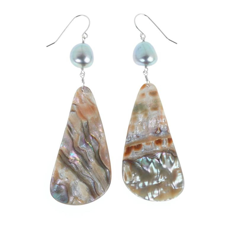 Deb Guyot Studio Cultured Pearl and Abalone Drop Earrings