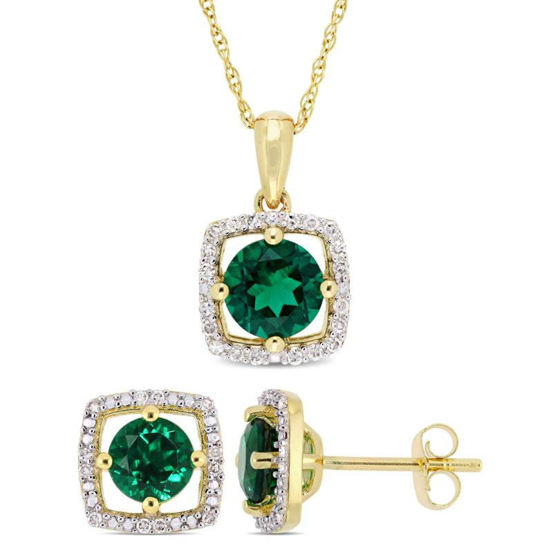 Delmar 10K Gold Created Emerald & Diamond Pendant Necklace & Earrings