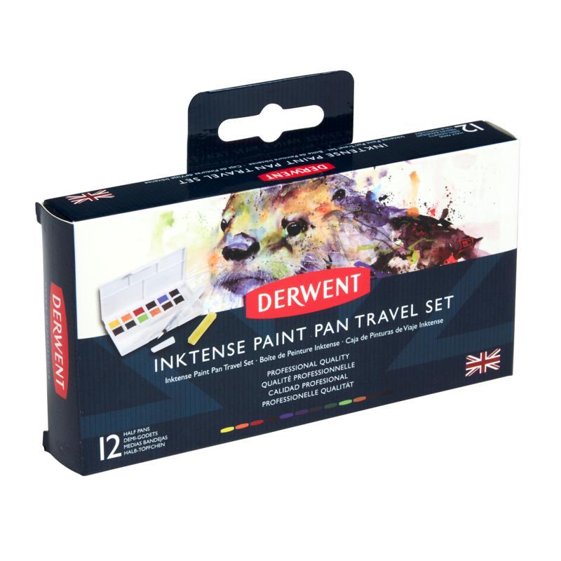 DERWENT Inktense Paint Pan Travel Set Palette #01 - 12 Half Pans