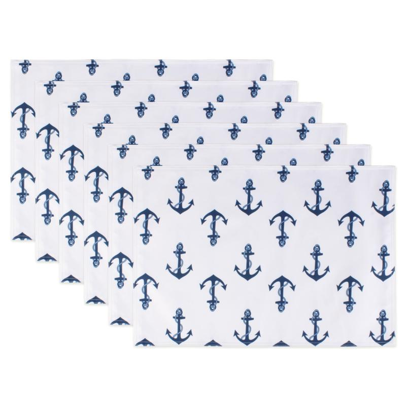 Design Imports Anchors Print Outdoor Reversible Placemat Set of 6