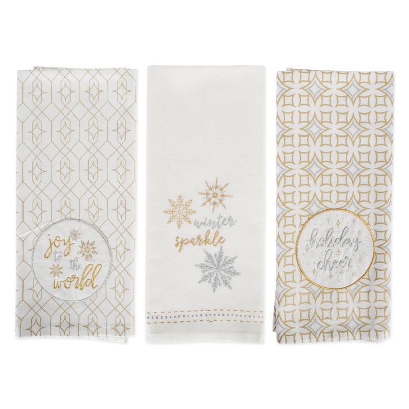 Design Imports Assorted Winter Sparkle Kitchen Towel Set of 3
