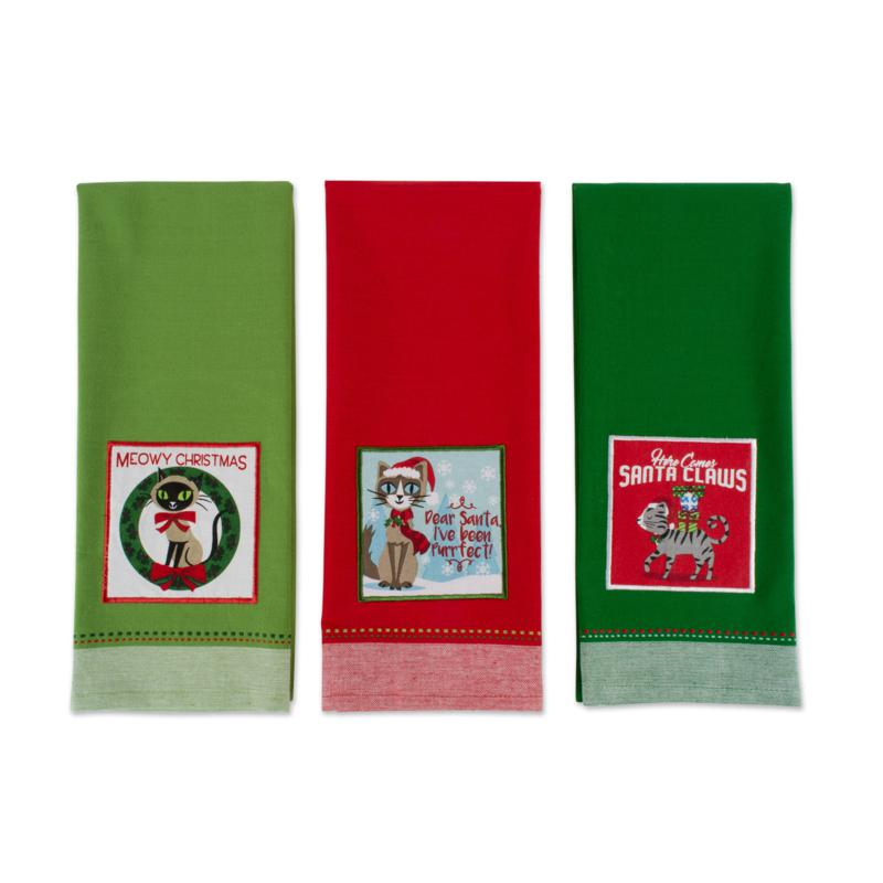 Design Imports Assorted Xmas Kitty Kitchen Towel Set of 3