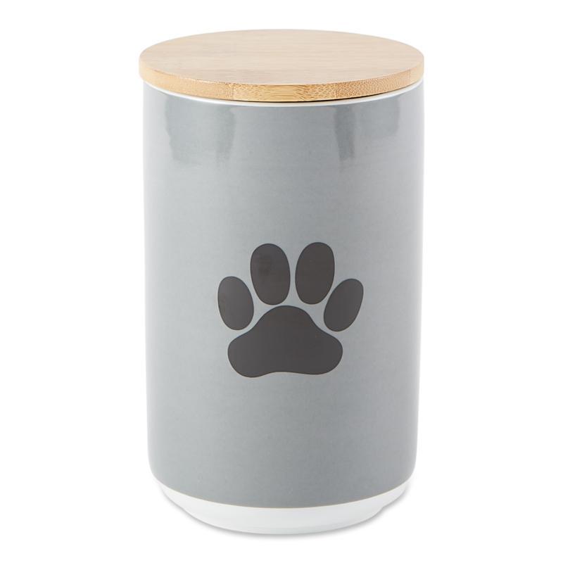Design Imports Black Paw Print Ceramic Treat Canister