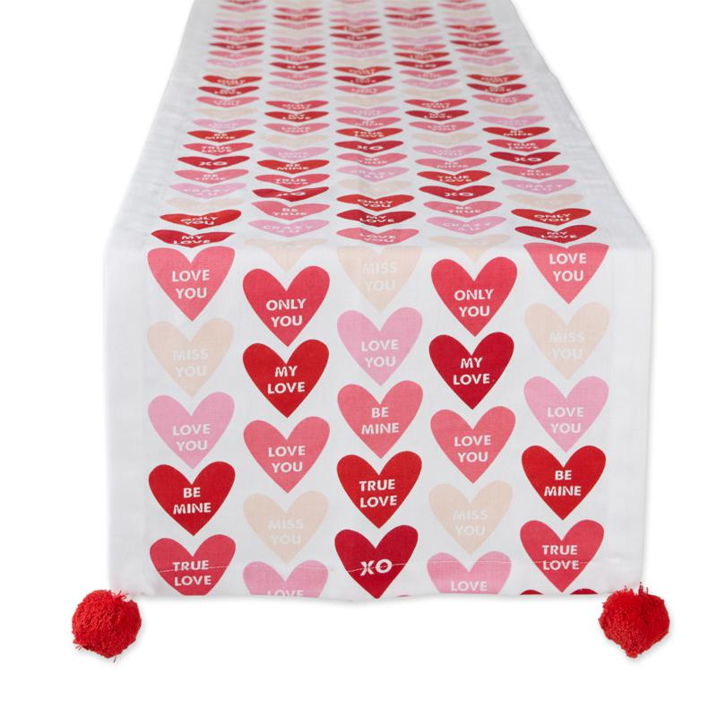 """Design Imports Conversation Hearts Table Runner 14""""x72"""""""