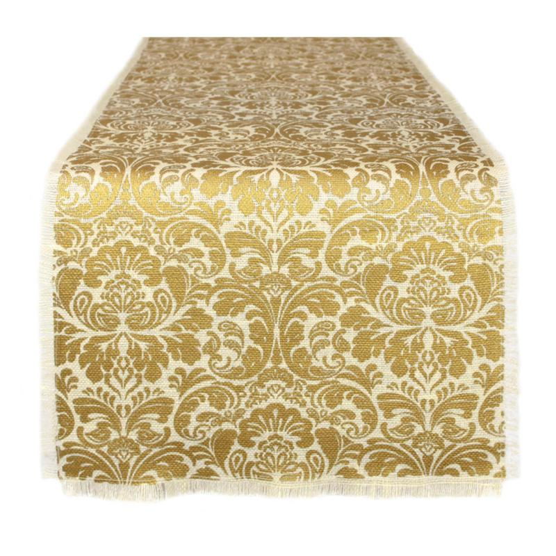 "Design Imports Gold Damask Printed Burlap Table Runner 14"" x 72"""
