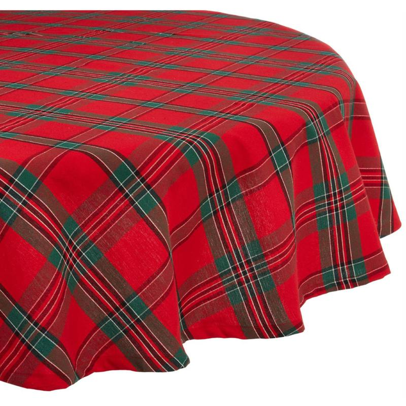 Design Imports Holiday Plaid Tablecloth 70-inch Round