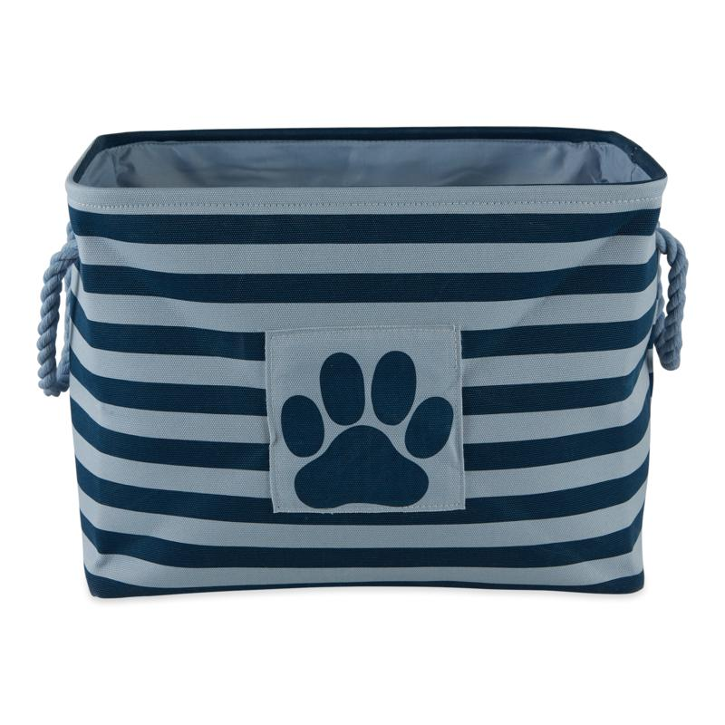 Design Imports Polyester Rectangle Stripe Paw Patch Pet Bin Large