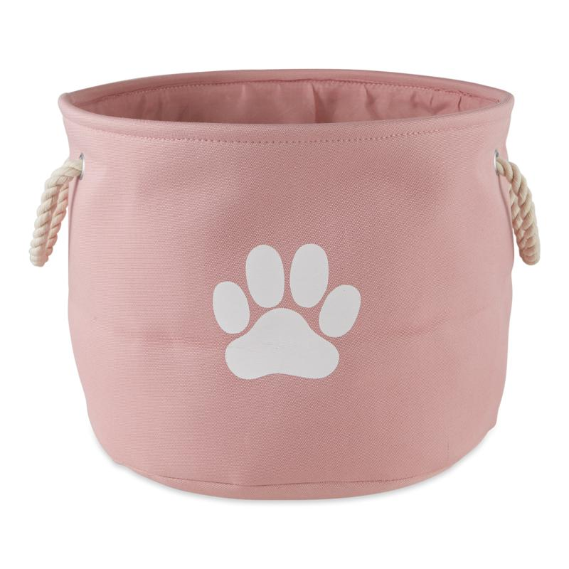 Design Imports Polyester Round Solid Pet Bin w/ Paw Patch Medium