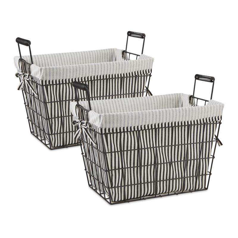 Design Imports Set of 2 Farmhouse Black Wire Basket