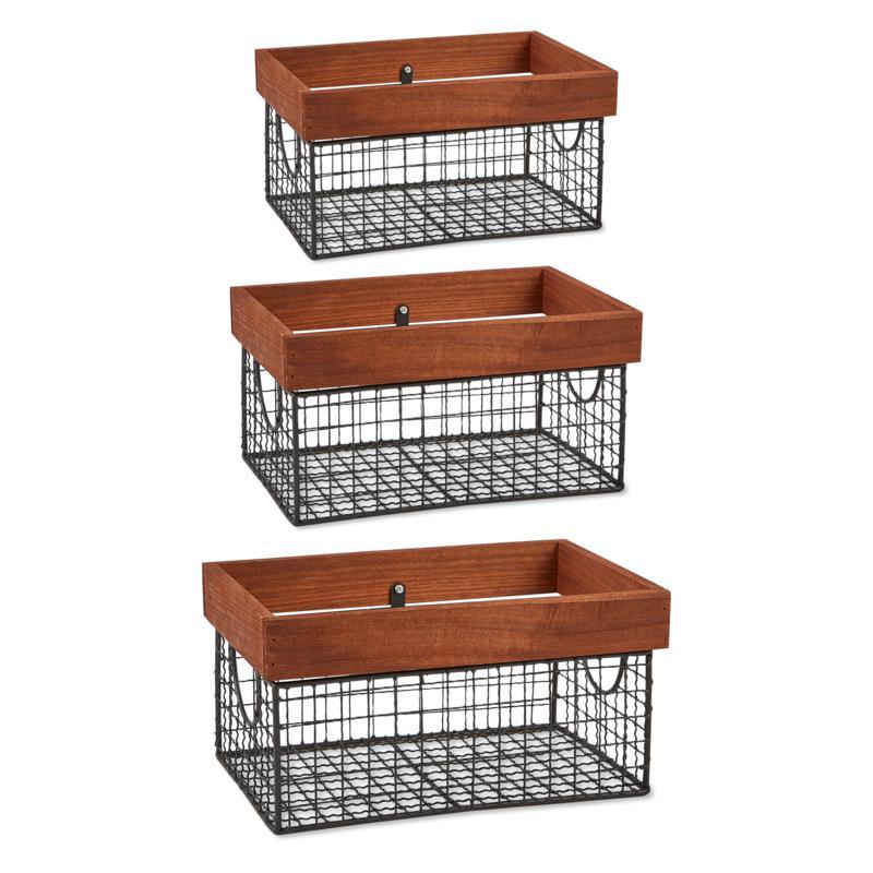 Design Imports Set of 3 Assorted Farmhouse Basket