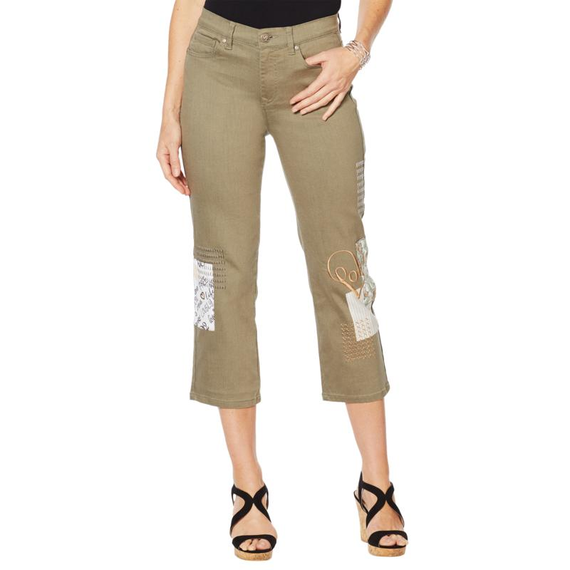 DG2 by Diane Gilman Classic Stretch Embroidered Cropped Jean - Fashion