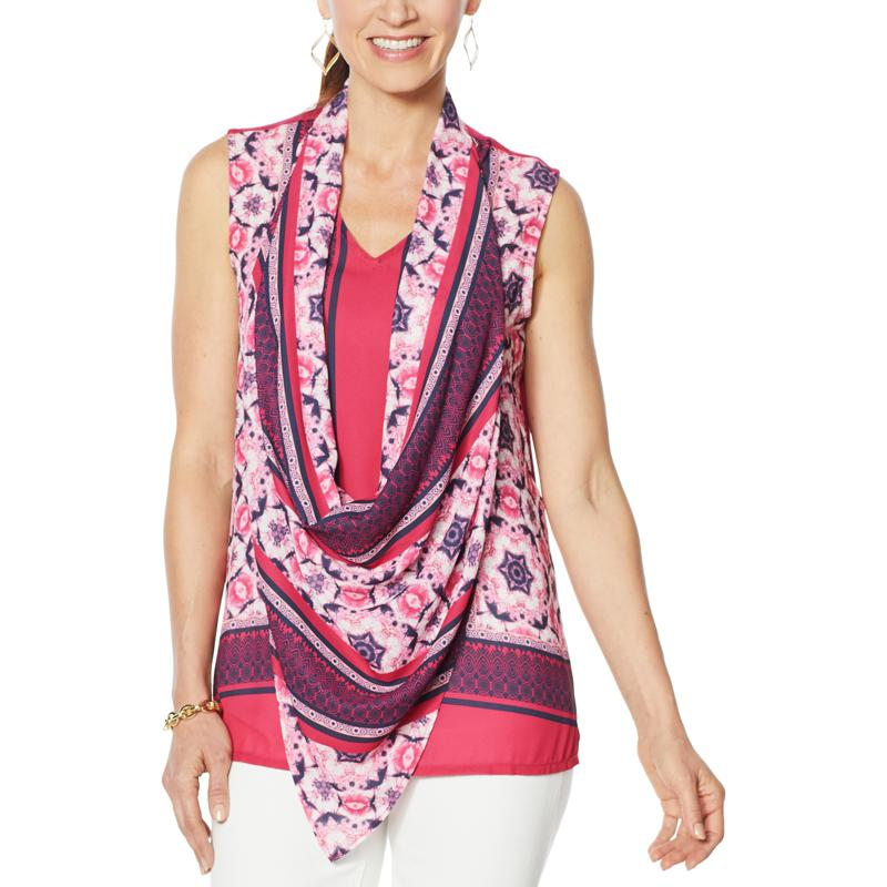DG2 by Diane Gilman Colorblocked Print/Solid Tank with Scarf