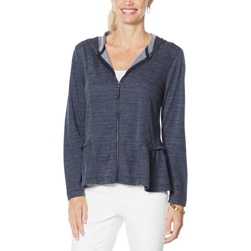 """DG2 by Diane Gilman """"DG Downtime"""" French Terry Ruffled Hoodie"""