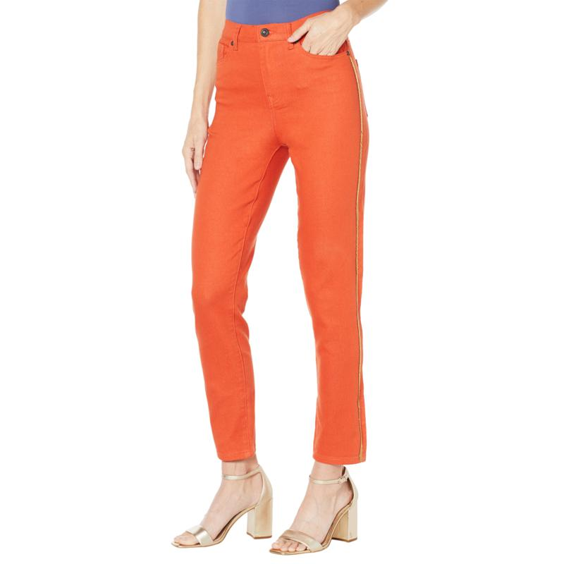 DG2 by Diane Gilman Virtual Stretch Beaded Side Stripe Jean - Fashion