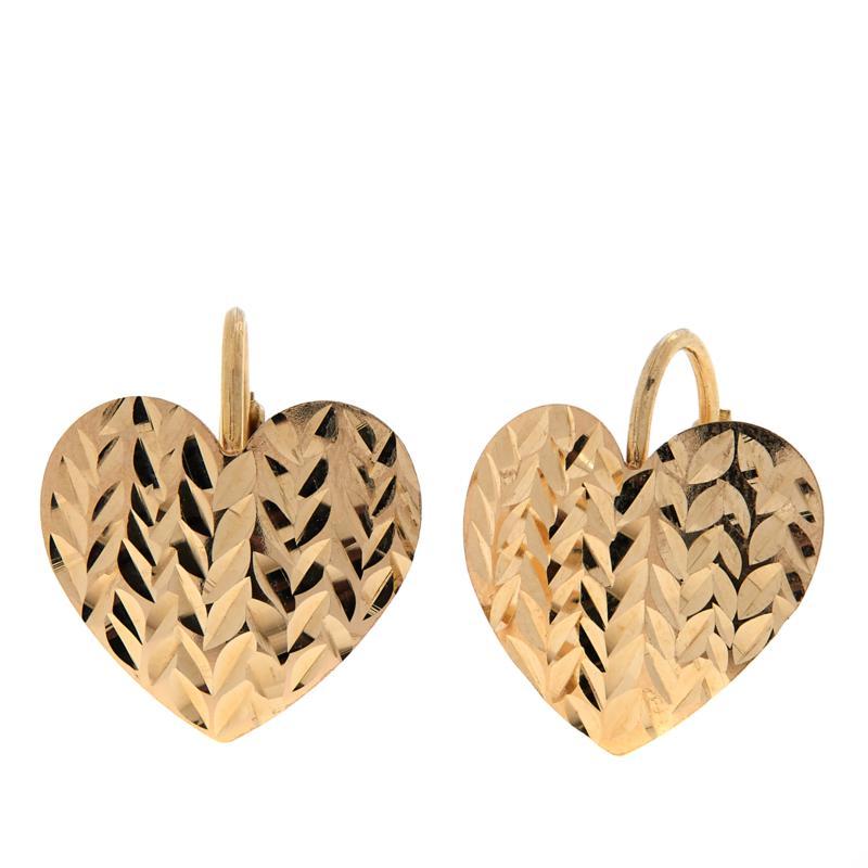 Dieci 10K Gold Diamond-Cut Heart Earrings