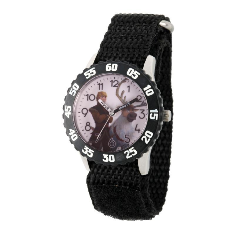 Disney Frozen 2 Kristoff Kids' Black Bezel Watch w/ Black Nylon Strap