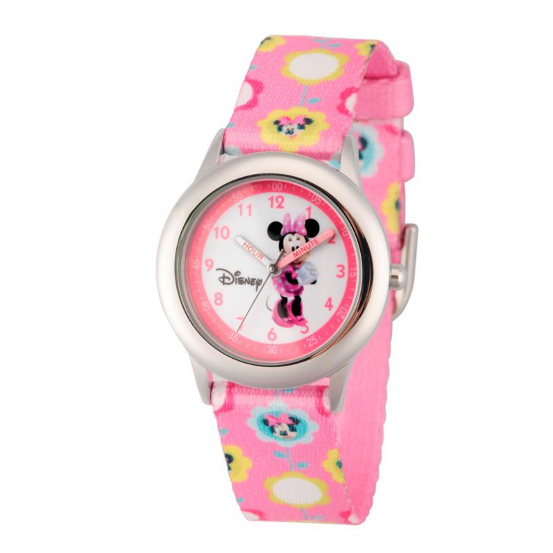 Disney Minnie Mouse Kids Time Teacher Watch w/ Pink Printed Strap