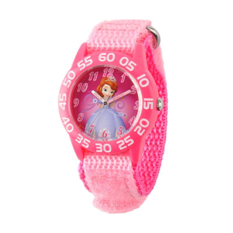 Disney Sofia Kids Pink Plastic Time Teacher Watch w/ Pink Nylon Strap