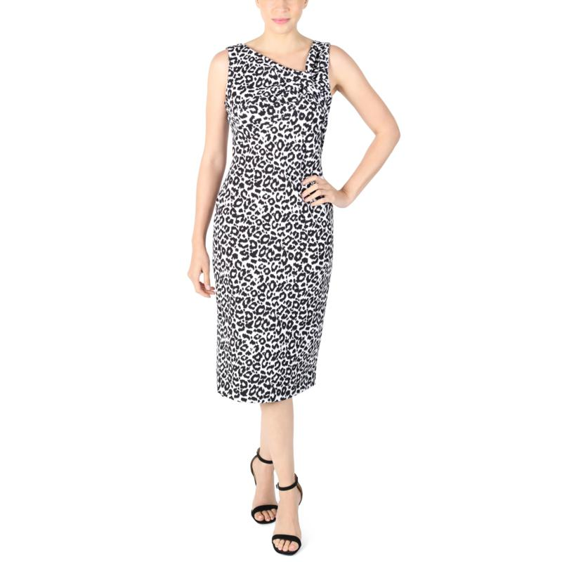 Donna Ricco  Animal Print Sleeveless Sheath Dress