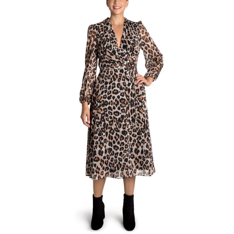 Donna Ricco Leopard Chiffon Midi Dress