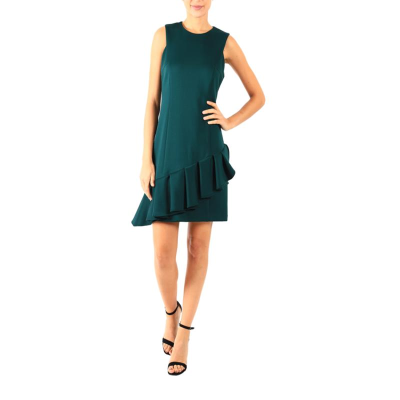 Donna Ricco Sleeveless Scuba Dress with Asymmetric Ruffle Hem