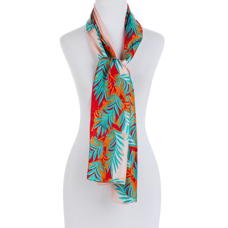 Echo Palm-Print Oblong Silk Scarf