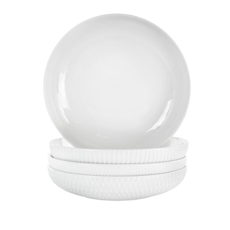 Elama Esme 4-Pc Porcelain Assorted Bowl Set in White