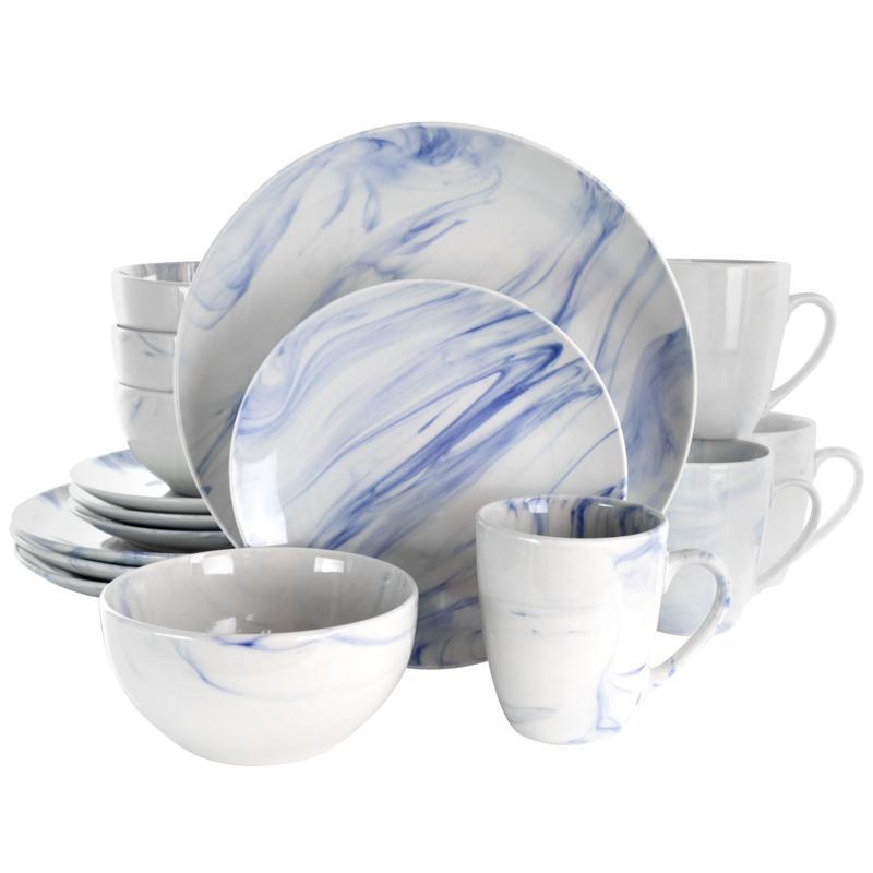 Elama Fine Marble 16 Piece Stoneware Dinnerware Set in Blue and White