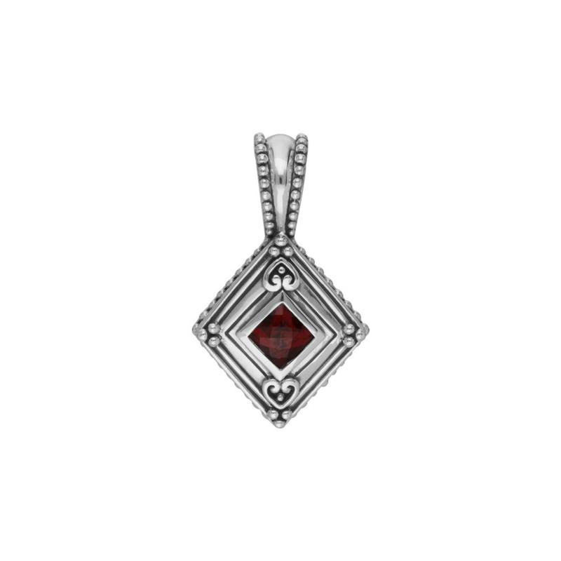 Elyse Ryan Sterling Silver Garnet Enhancer Pendant