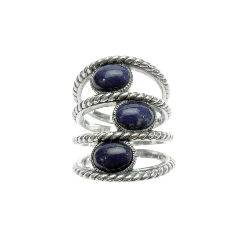 Elyse Ryan Sterling Silver Oval Lapis Negative Space Ring