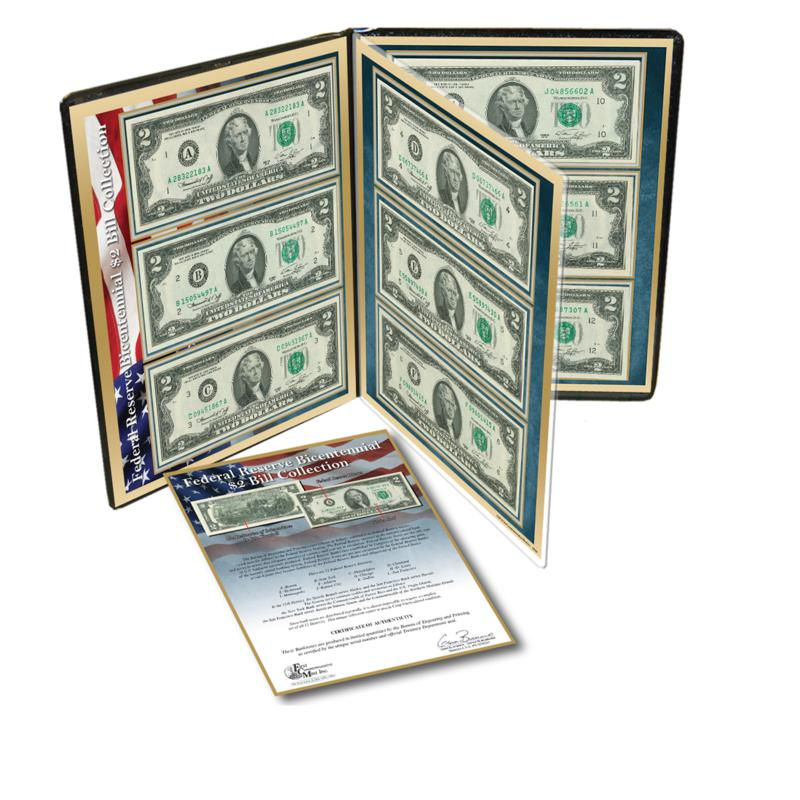 Federal Reserve District Series 1976 Bicentennial $2 Bill Collection