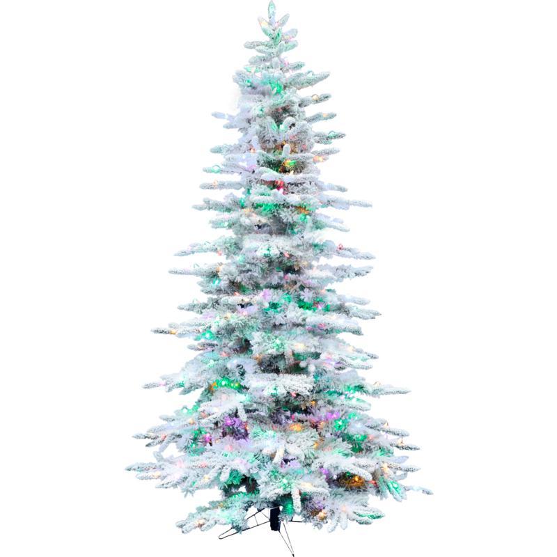 Fraser Hill Farm 10' Flocked Pine Pre-lit Multicolor Christmas Tree
