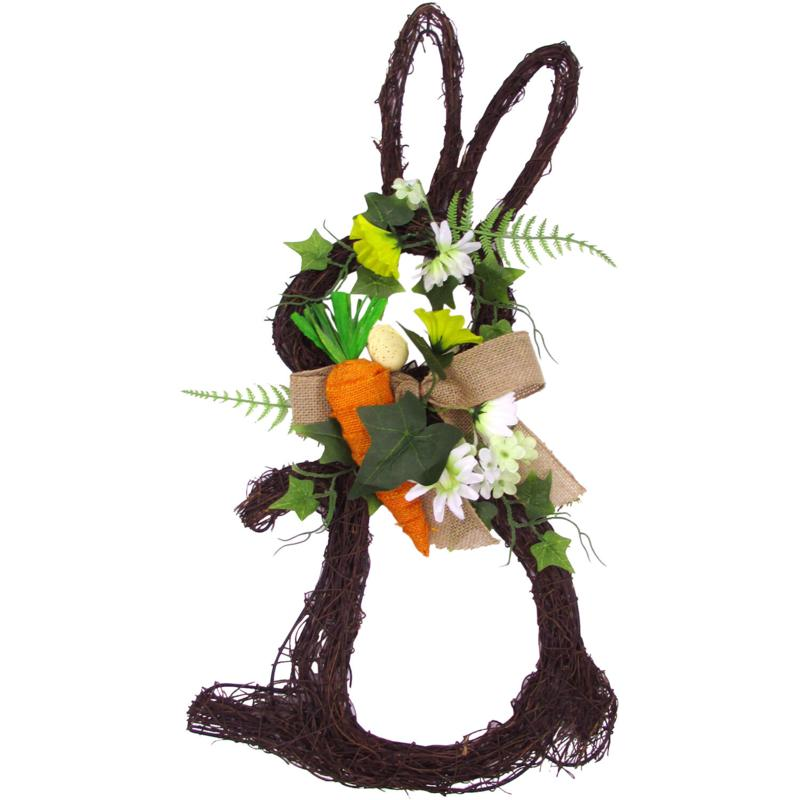 """Fraser Hill Farm 18"""" Twig Bunny Wreath with Tulips and Carrot"""