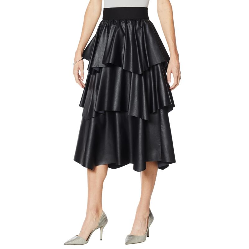 G by Giuliana Black Label Faux Leather Ruffle Skirt