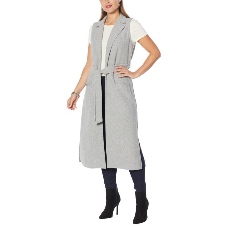 G by Giuliana Bouclé Knit Sleeveless Trench Coat
