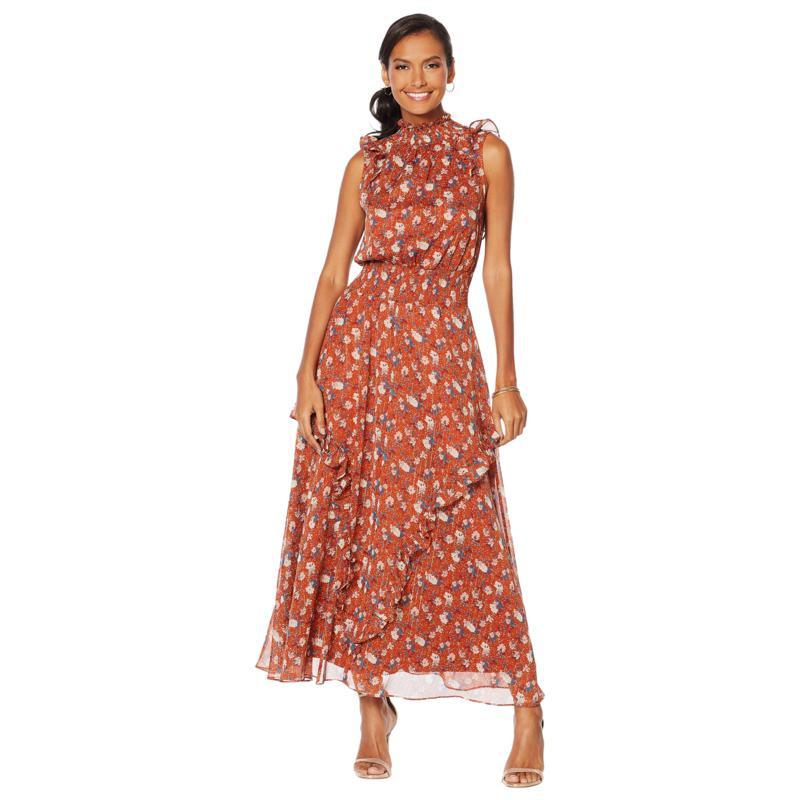G by Giuliana Printed Ruffle Maxi Dress