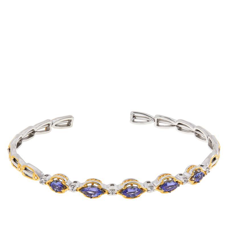 Gems by Michael Gemstone and White Zircon Flexible Cuff Bracelet