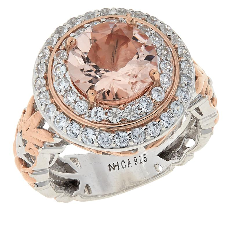 Gems by Michael Morganite and White Zircon Double Halo Ring