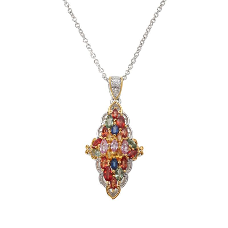 Gems by Michael Multi-Color Sapphire and Ruby Pendant with Chain