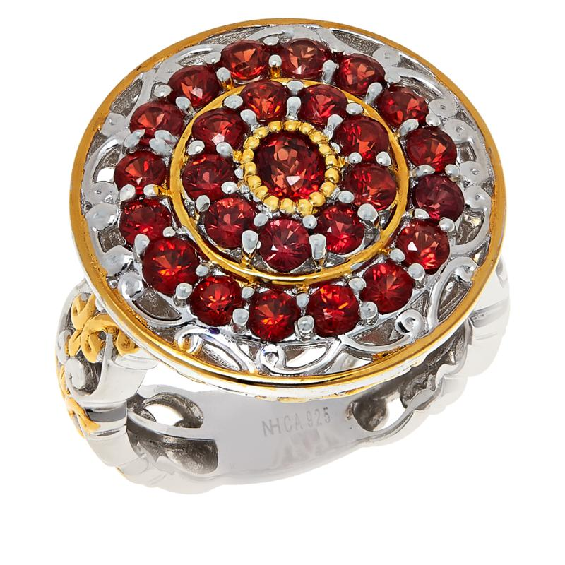 Gems by Michael Sterling Silver Blood Orange Sapphire Cluster Ring