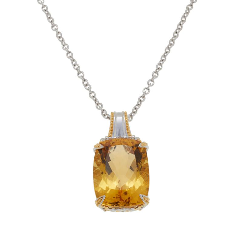 Gems by Michael Sterling Silver Citrine and White Zircon Pendant