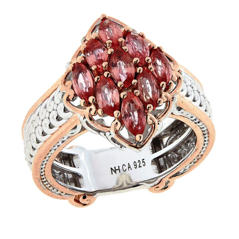 Gems by Michael Sterling Silver Padparadscha Cluster Ring