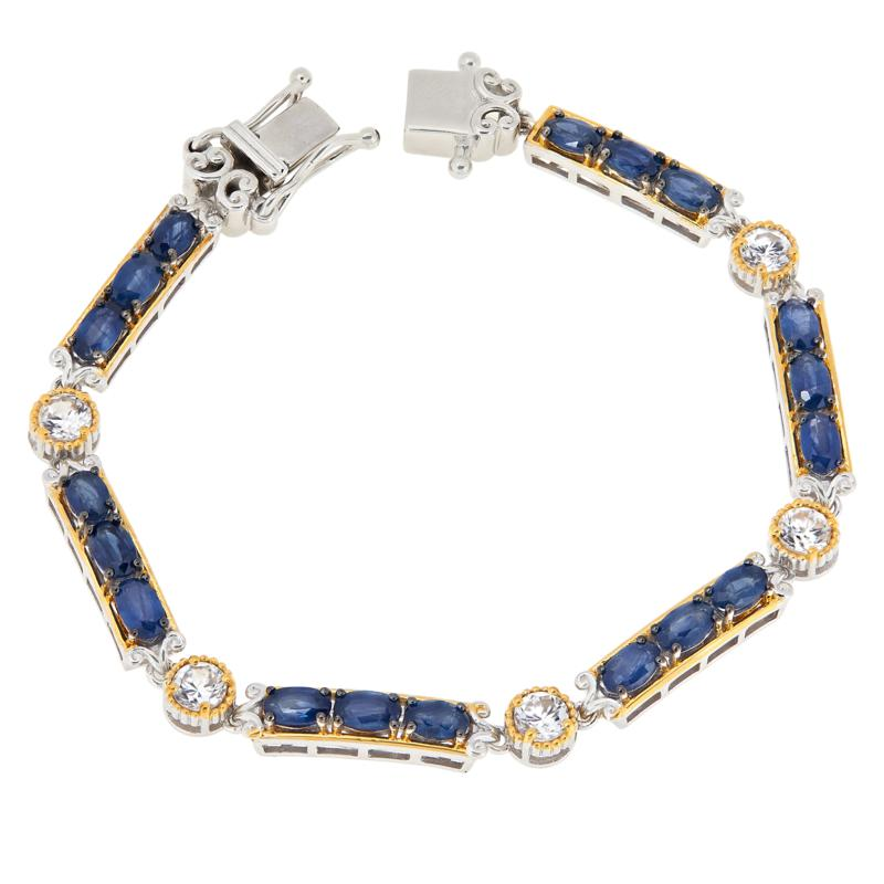 Gems by Michael Sterling Silver Sapphire and White Zircon Bracelet