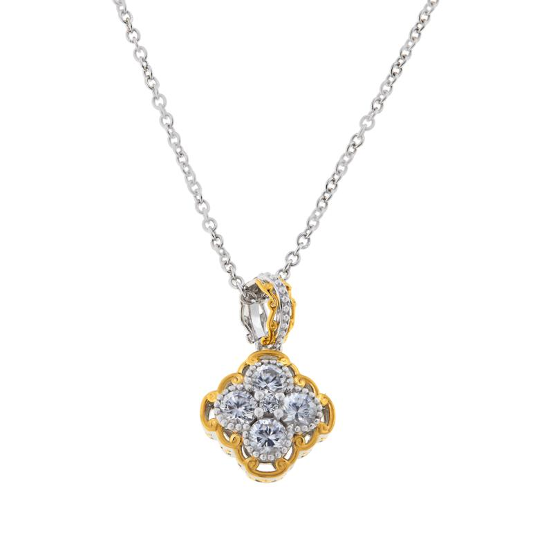 Gems by Michael Sterling Silver Zircon Cluster Pendant with Chain