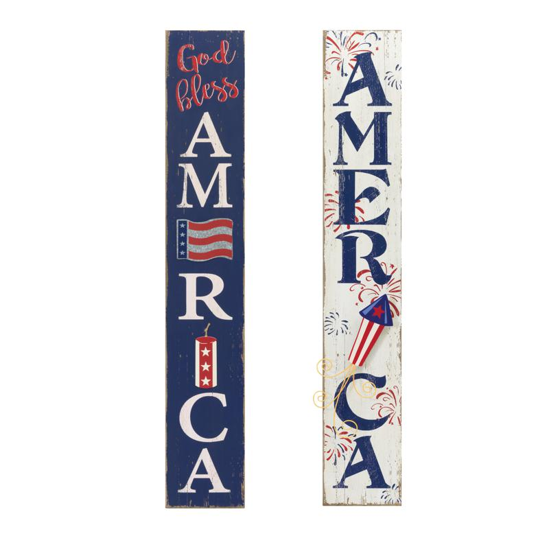 """Gerson 47"""" Antiqued Wooden Patriotic Wall Hangings - Set of 2"""