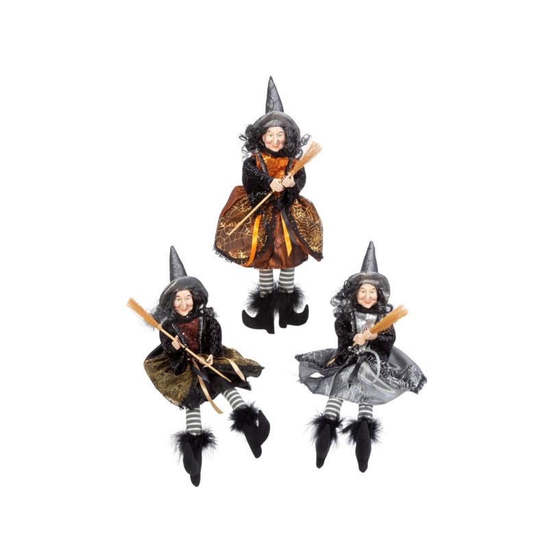 """Gerson Company 16""""H Fabric Sitting Witch Figurines 3-Pack"""