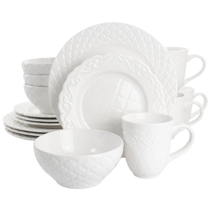 Gibson Home Quilted Eyelet 16-Pc Fine Ceramic Dinnerware Set in White